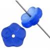 Glass Bead Flower 8mm Sapphire Matt Aurora Borealis - Strung With Centre Hole